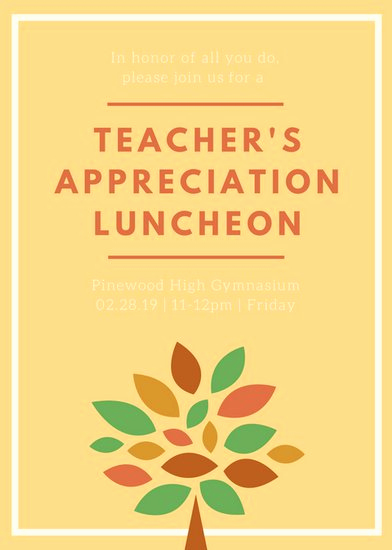 Teacher Appreciation Lunch Invitation Wording Best Of Luncheon Invitation Templates Canva