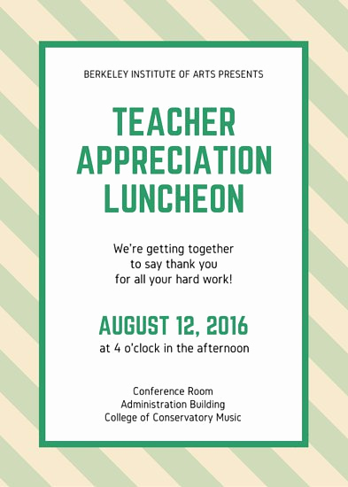 Teacher Appreciation Lunch Invitation Wording Fresh Customize 114 Luncheon Invitation Templates Online Canva
