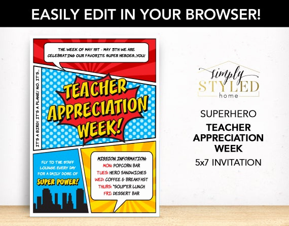 Teacher Appreciation Lunch Invitation Wording Fresh Editable Teacher Appreciation Week Superhero Invitation