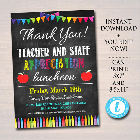 Teacher Appreciation Lunch Invitation Wording Inspirational Editable Teacher Appreciation Staff Invitation Chalkboard