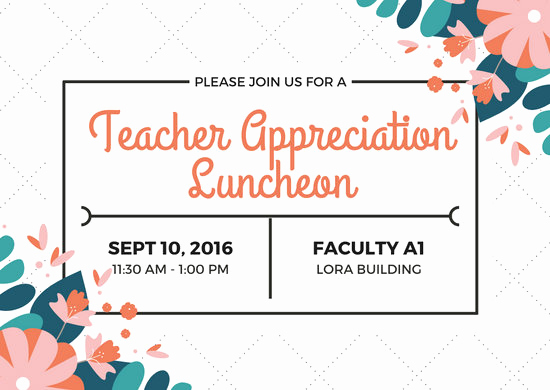 Teacher Appreciation Lunch Invitation Wording Luxury Customize 73 Luncheon Invitation Templates Online Canva