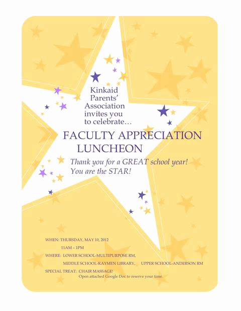 Teacher Appreciation Lunch Invitation Wording Luxury Teacher Luncheon Invitation Wording