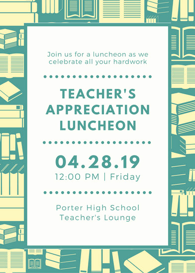 Teacher Appreciation Luncheon Invitation Awesome Luncheon Invitation Templates Canva
