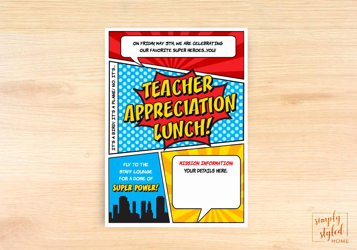 Teacher Appreciation Luncheon Invitation Awesome Teacher Appreciation Lunch Superhero Invite – Simply