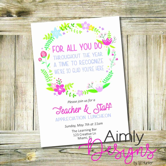 Teacher Appreciation Luncheon Invitation Beautiful Teacher Appreciation Card or Luncheon Invitation