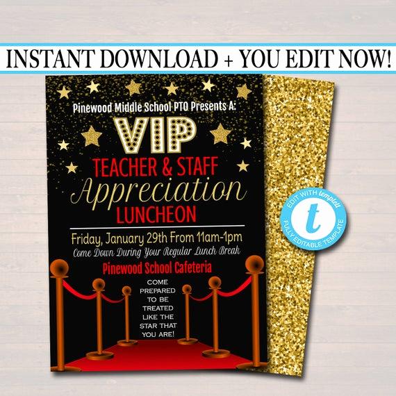 Teacher Appreciation Luncheon Invitation Best Of Editable Teacher Appreciation Staff Invitation Chalkboard