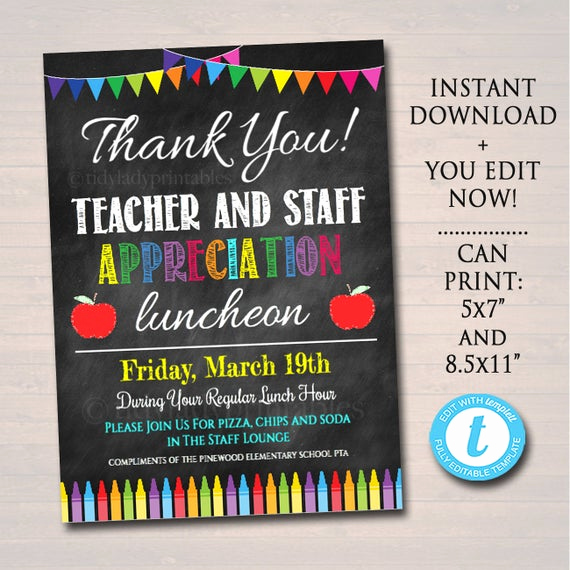 Teacher Appreciation Luncheon Invitation Inspirational Editable Teacher Appreciation Staff Invitation Chalkboard