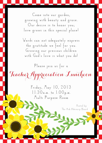 Teacher Appreciation Luncheon Invitation Wording Beautiful Invitation for Teacher Luncheon