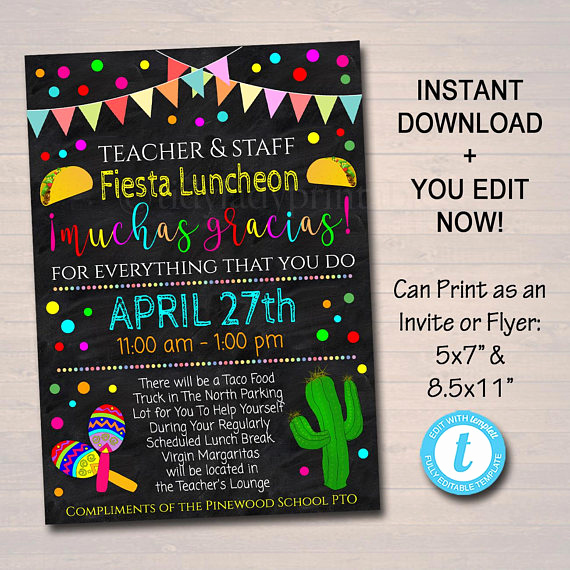 Teacher Appreciation Luncheon Invitation Wording Elegant Editable Fiesta Invite Teacher Appreciation Staff Invitation