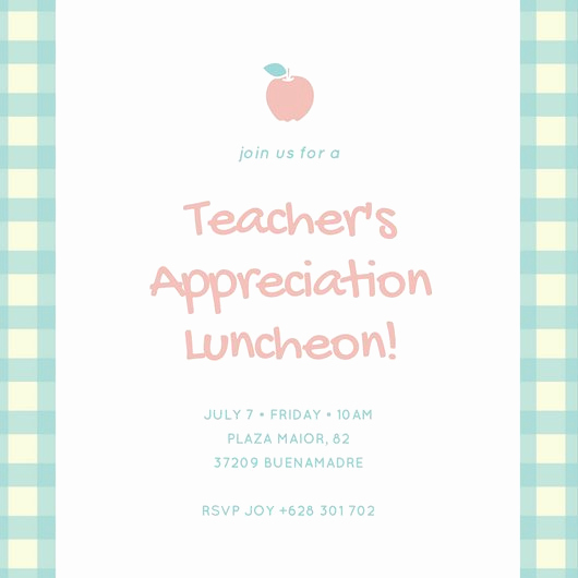 Teacher Appreciation Luncheon Invitation Wording Inspirational Yellow and Blue Luncheon Invitation Templates by Canva