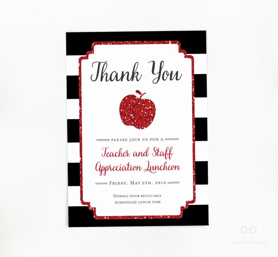 Teacher Appreciation Luncheon Invitation Wording New Teacher Appreciation Invitation Apple Printable Teacher