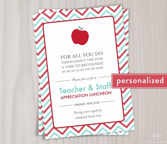 Teacher Appreciation Luncheon Invitation Wording Unique Teacher Appreciation Invitation Printable by Dearhenrydesign