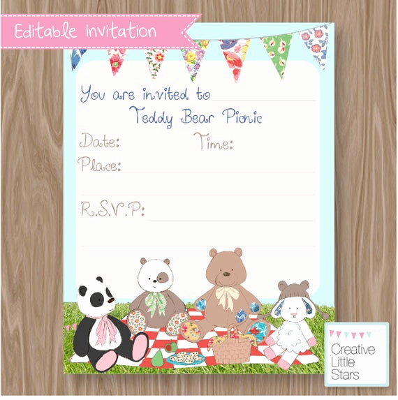 Teddy Bear Picnic Invitation Awesome Teddy Bears Picnic Diy Invitation Instant by