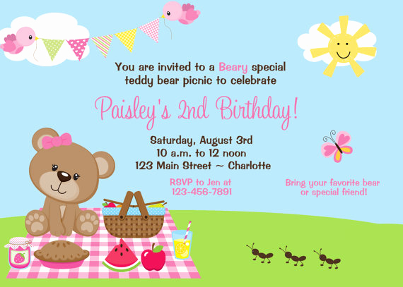 Teddy Bear Picnic Invitation Best Of Teddy Bear Picnic Birthday Party Invitation Teddy Bear