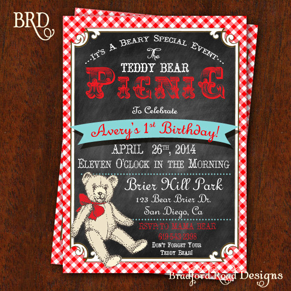 Teddy Bear Picnic Invitation Best Of Teddy Bear Picnic Invitation Chalkboard & Red and White