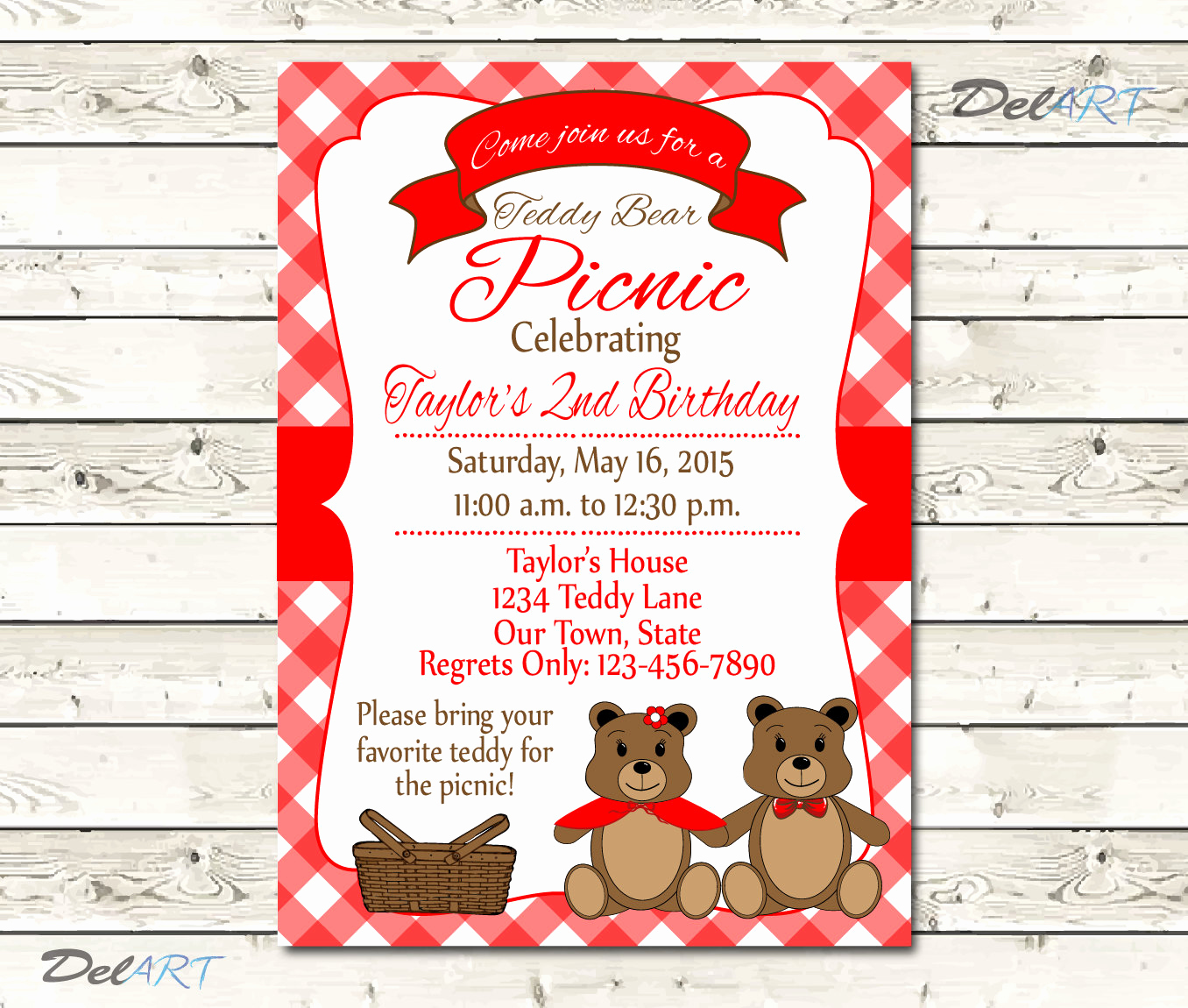 Teddy Bear Picnic Invitation Best Of Teddy Bear Picnic Invitation or Save the Date Digital File