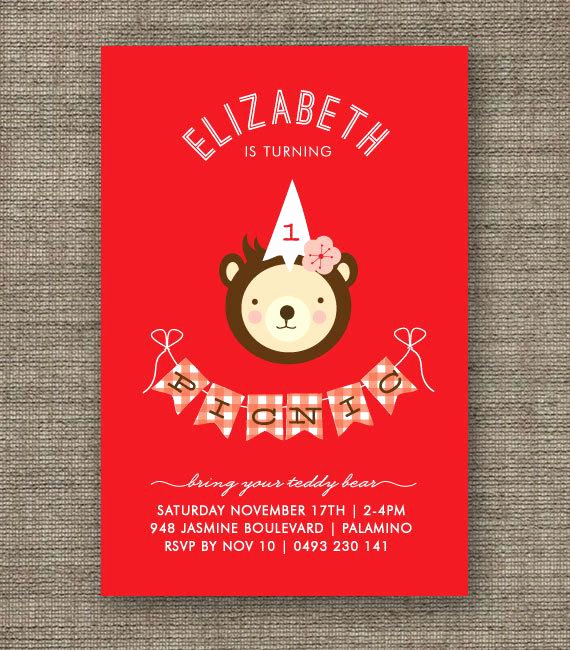 Teddy Bear Picnic Invitation Best Of Teddy Bears Picnic Invitation for Girl 1st 2nd 3rd by