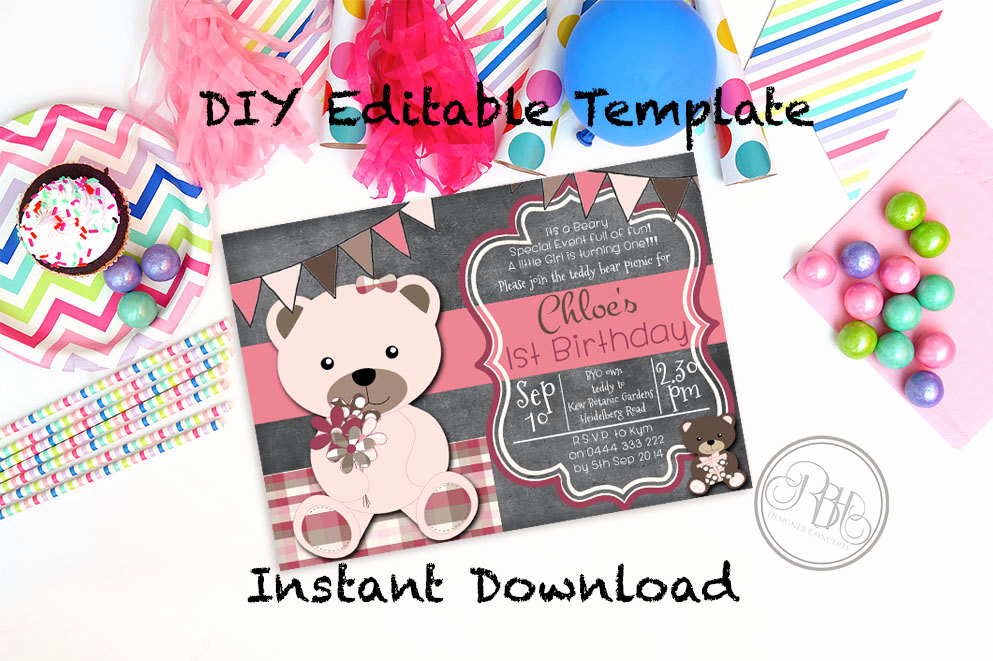 Teddy Bear Picnic Invitation Elegant Teddy Bear Picnic Birthday Invitation Baby Shower Instant