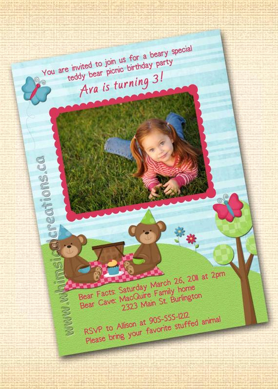 Teddy Bear Picnic Invitation Elegant Teddy Bear Picnic Birthday Invitation by Whimsicalcreationspc