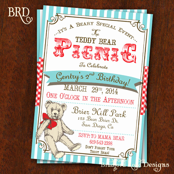 Teddy Bear Picnic Invitation Elegant Teddy Bear Picnic Invitation Teddy Bear Picnic Party Teddy