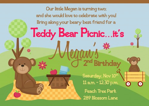 Teddy Bear Picnic Invitation Fresh Picnic Birthday Party Invitations Ideas – Free Printable