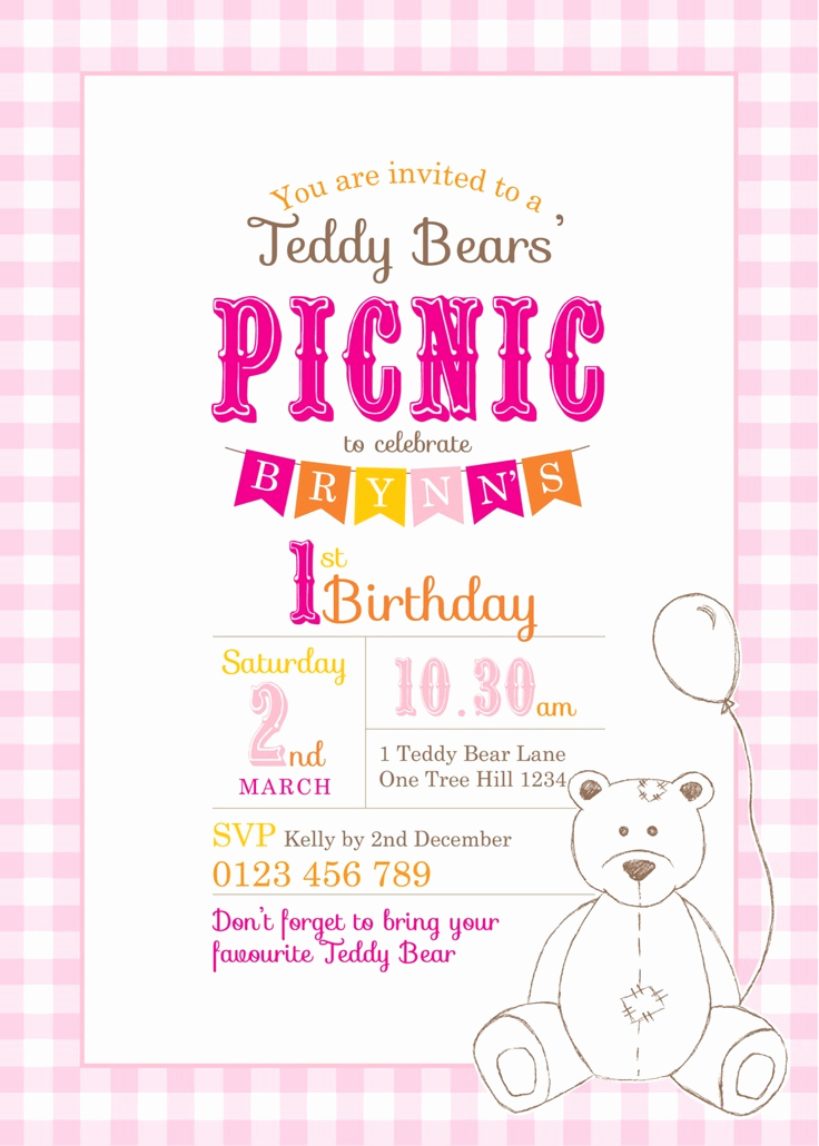 Teddy Bear Picnic Invitation Fresh Printable Custom Birthday Party Invitation Template