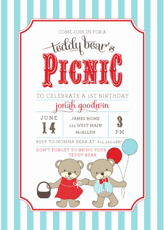 Teddy Bear Picnic Invitation Fresh Teddy Bear Picnic Invitations Teddy Bear S Birthday