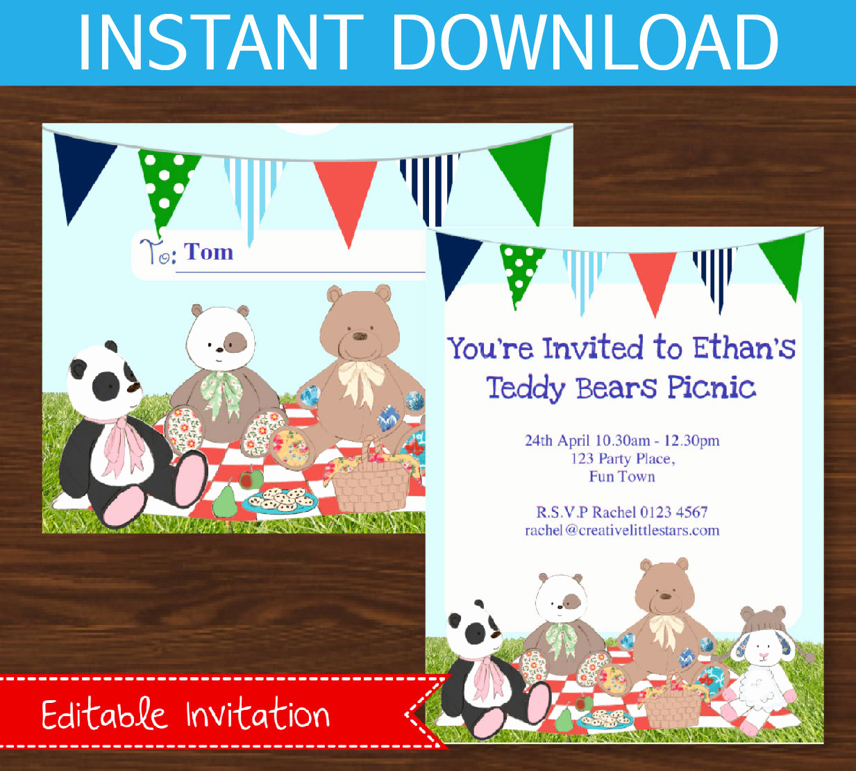Teddy Bear Picnic Invitation Lovely Teddy Bears Picnic Invitation Boys Instant Download