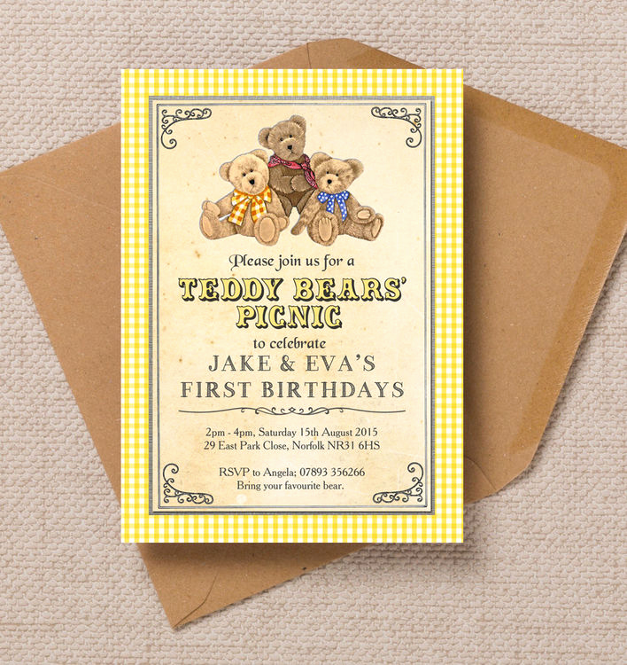Teddy Bear Picnic Invitation Lovely Teddy Bears Picnic Kids Party Invitation
