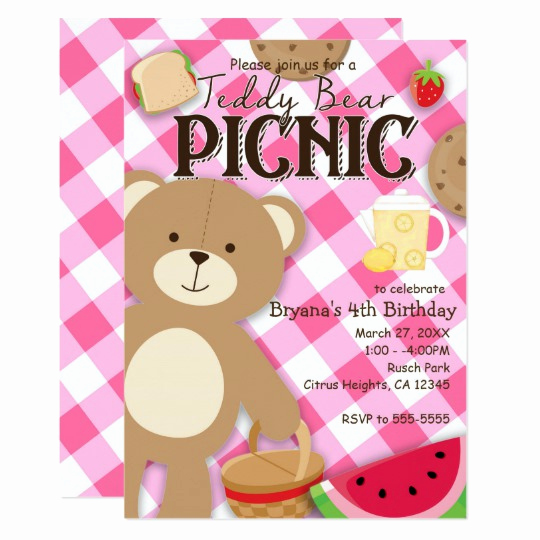 Teddy Bear Picnic Invitation Luxury Pink Teddy Bear Picnic Birthday Party Invitation
