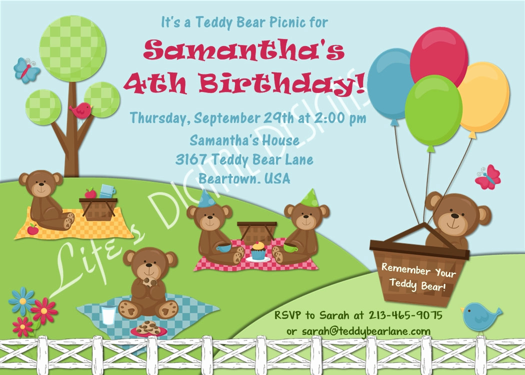 Teddy Bear Picnic Invitation Luxury Teddy Bear Picnic Birthday Invitation Option