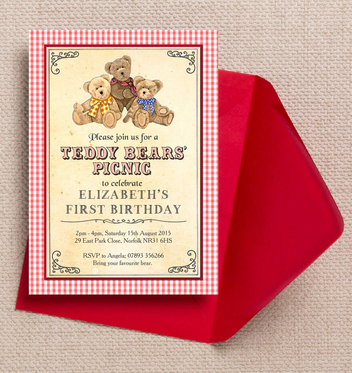 Teddy Bear Picnic Invitation Luxury Teddy Bears Picnic Kids Party Invitation