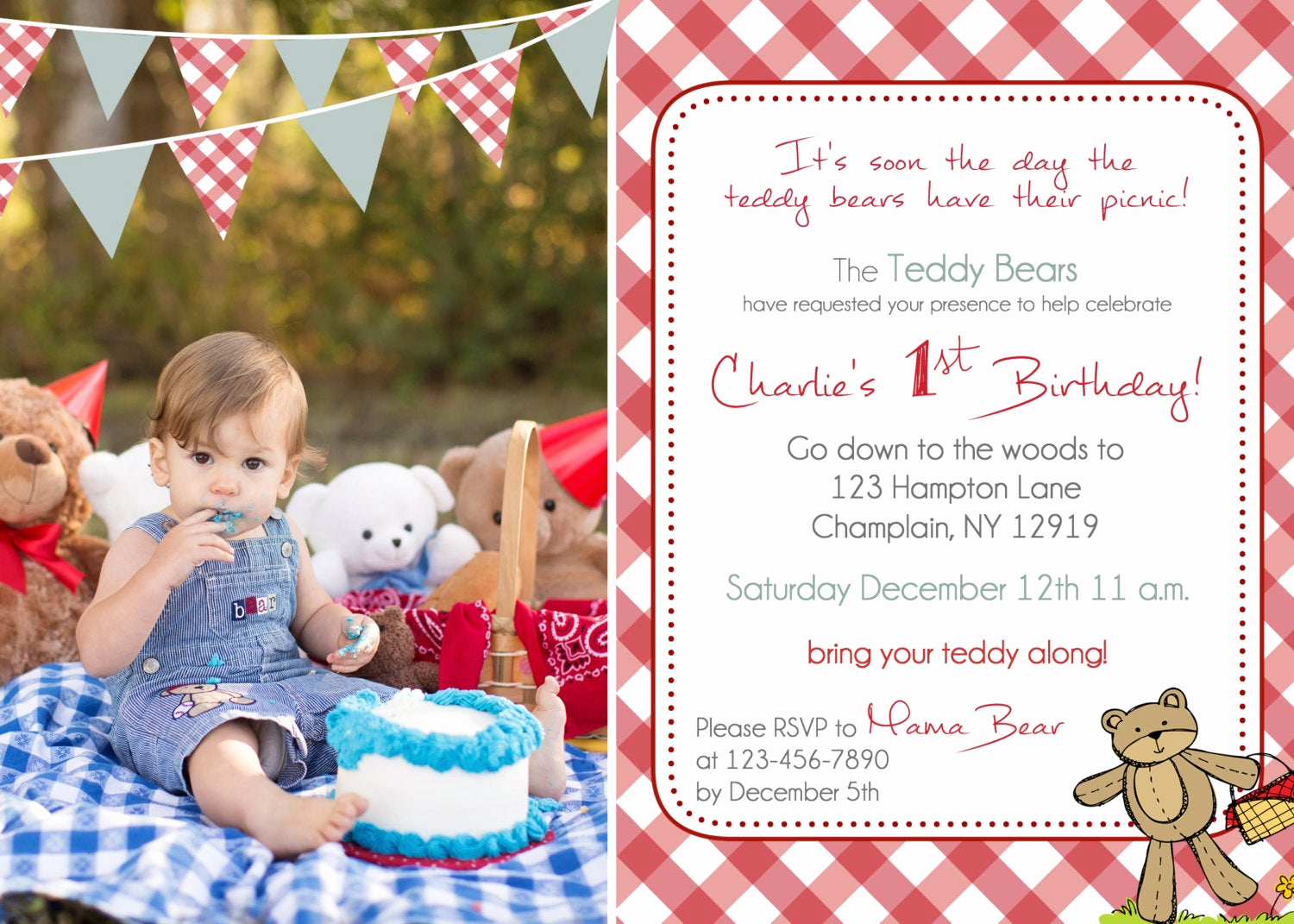 Teddy Bear Picnic Invitation New Teddy Bear Picnic Birthday Invitation You Print