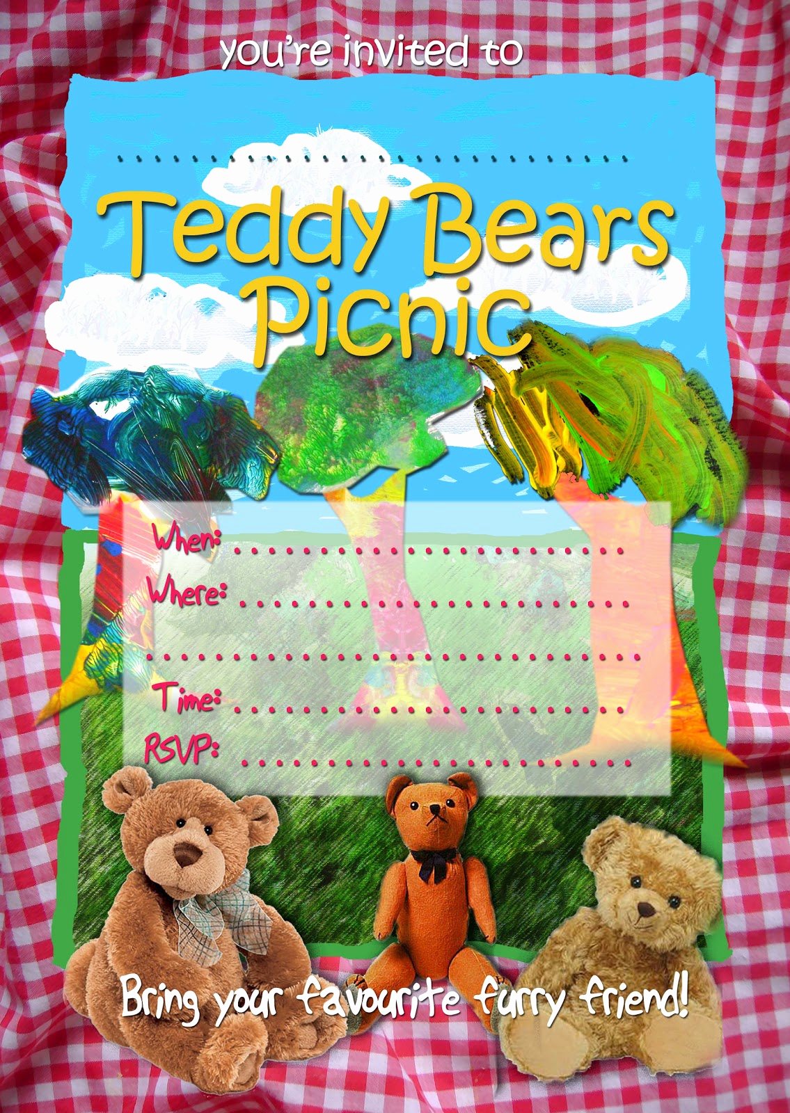 Teddy Bears Picnic Invitation Awesome Free Kids Party Invitations Teddy Bears Picnic Invitation