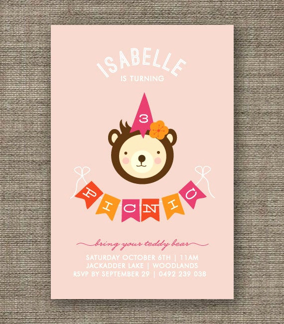 Teddy Bears Picnic Invitation Beautiful Teddy Bears Picnic Invitation for Girl 1st 2nd 3rd by