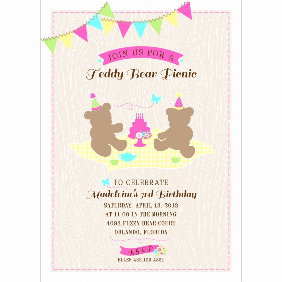 Teddy Bears Picnic Invitation Best Of Teddy Bear Picnic Printable Birthday Party Invitation