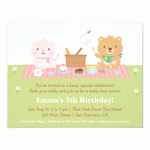 Teddy Bears Picnic Invitation Elegant Cute Teddy Bear Picnic Birthday Party Invitations