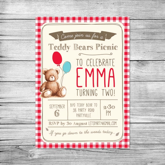 Teddy Bears Picnic Invitation Elegant Teddy Bears Picnic Birthday Invitation Teddy by Pixelpopshop