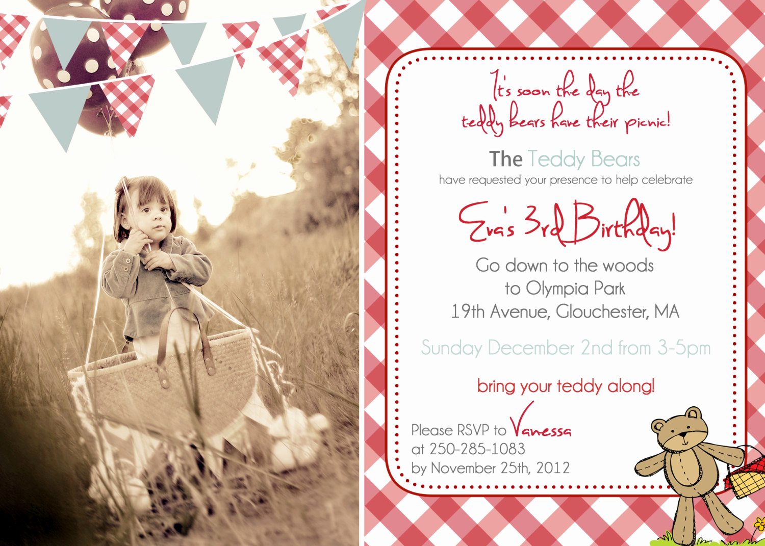 Teddy Bears Picnic Invitation Fresh Teddy Bear Picnic Birthday Invitation You Print by