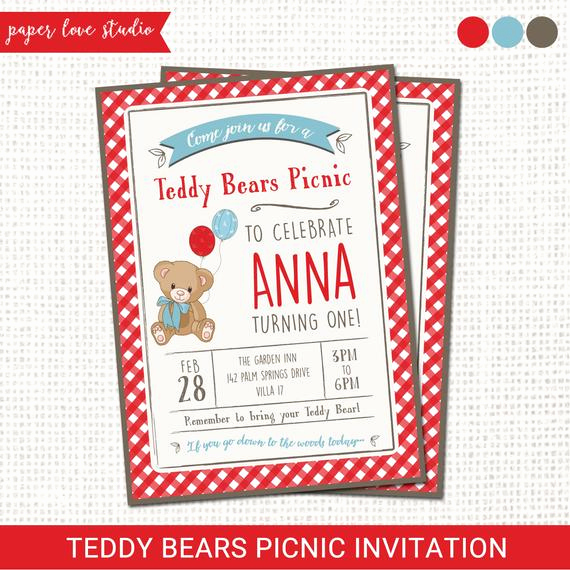 Teddy Bears Picnic Invitation Fresh Teddy Bears Picnic Invitation Printable