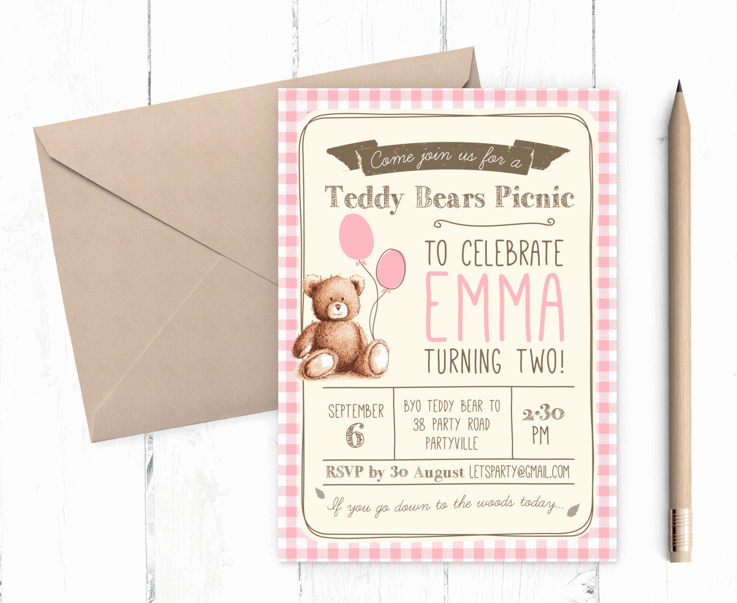 Teddy Bears Picnic Invitation Inspirational Gingham Teddy Bears Picnic Birthday Invitation Uni