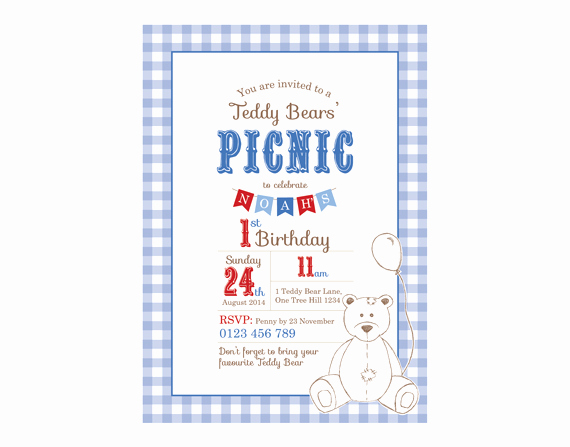 Teddy Bears Picnic Invitation Inspirational Printable Custom Birthday Party Invitation Template