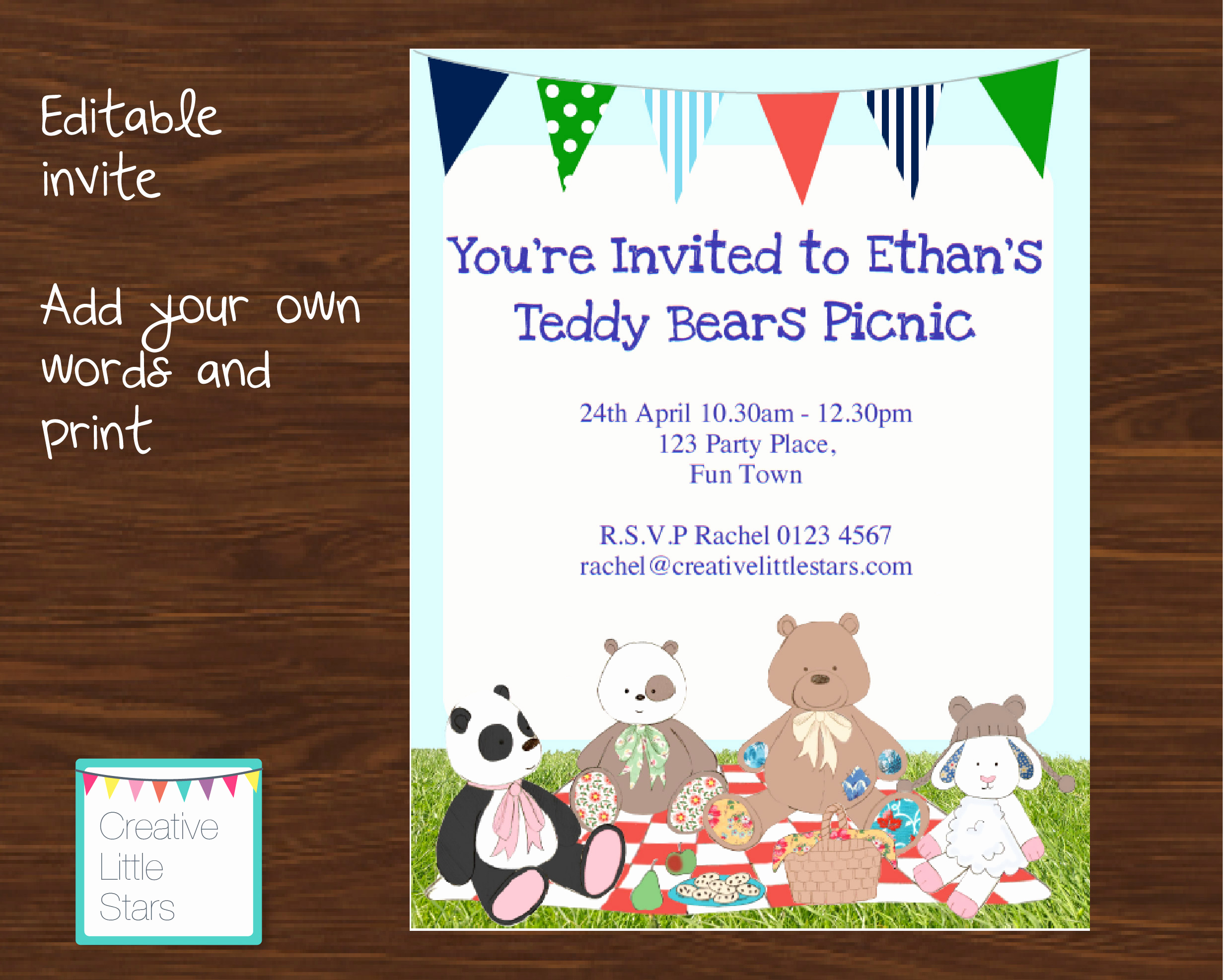 Teddy Bears Picnic Invitation Inspirational Printable Teddy Bears Picnic Invitation Blue Creative