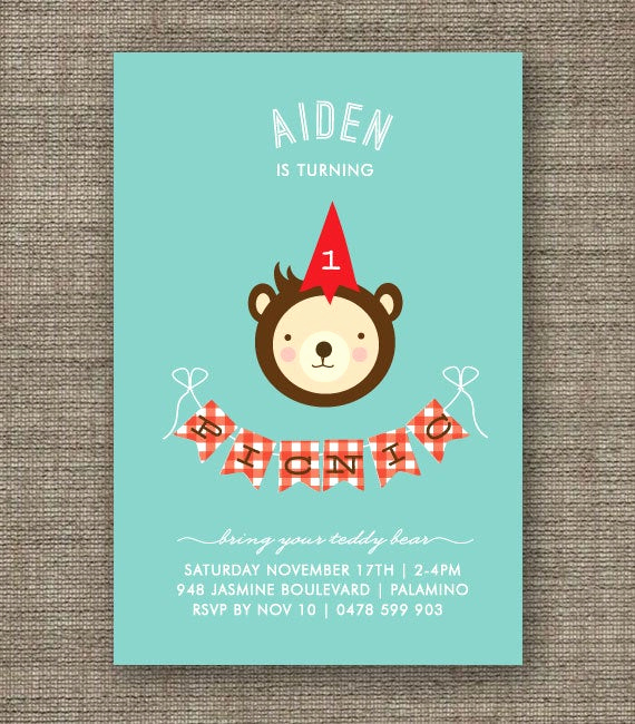 Teddy Bears Picnic Invitation Lovely Boys Teddy Bears Picnic Invitation Aqua & Red by Bonjourberry