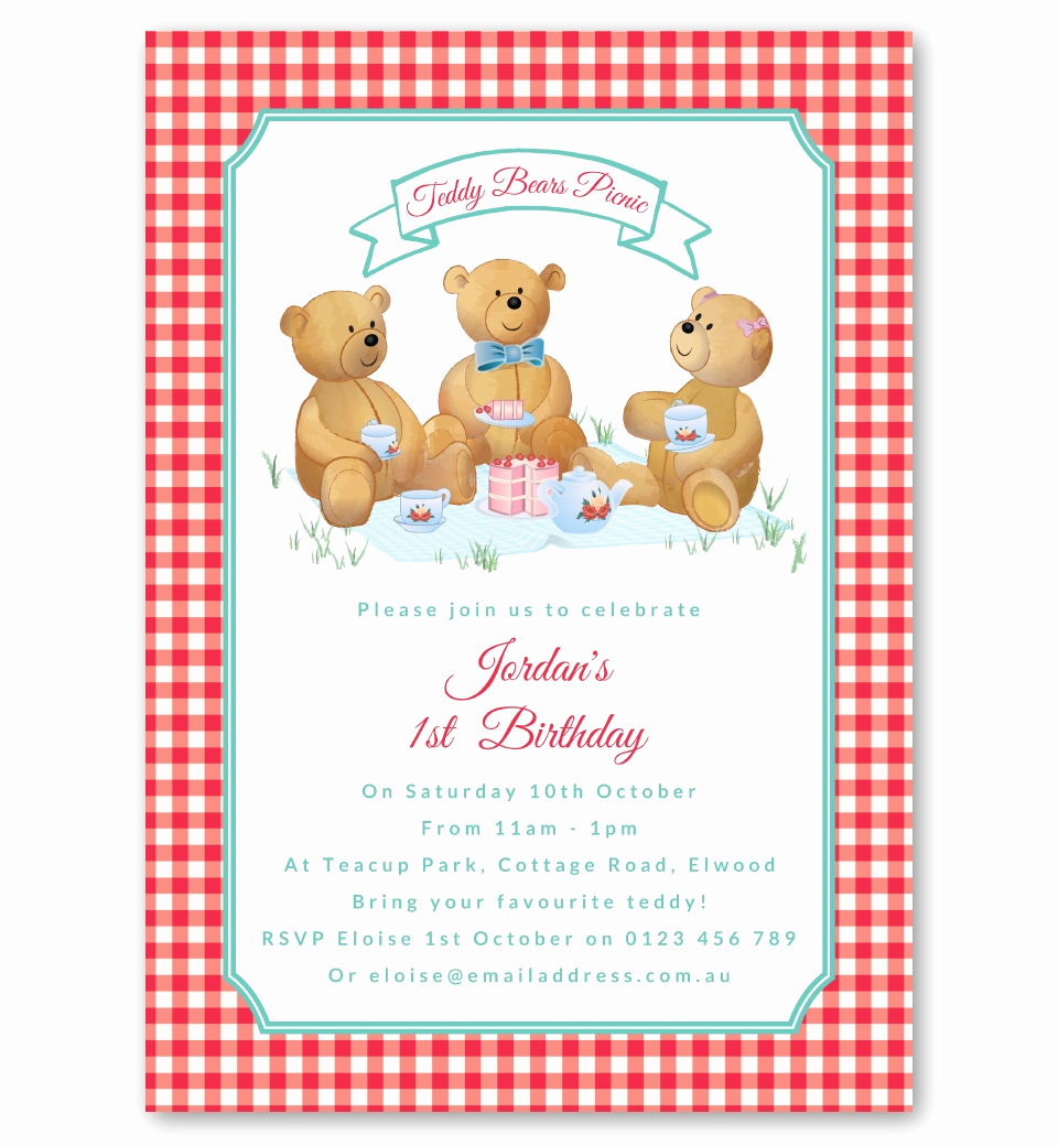 Teddy Bears Picnic Invitation Lovely Gender Neutral Teddy Bears Picnic Invitation