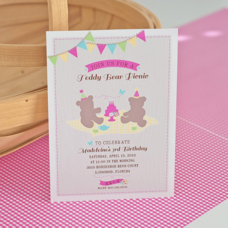 Teddy Bears Picnic Invitation Lovely Teddy Bear Picnic Printable Birthday Party Invitation