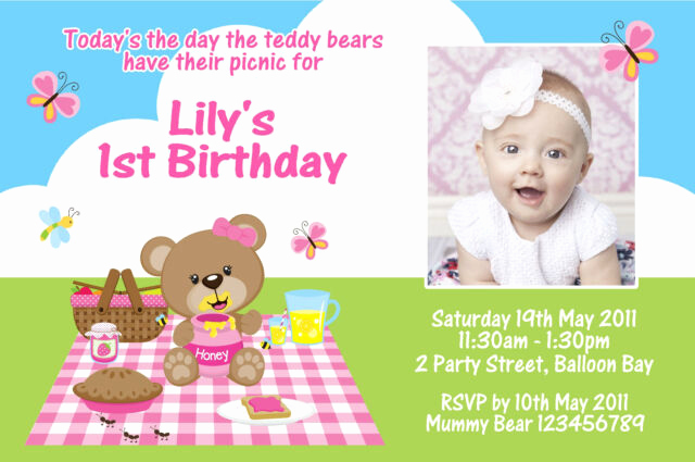 Teddy Bears Picnic Invitation Luxury Personalised Teddy Bear Picnic Invitations Birthday 1st