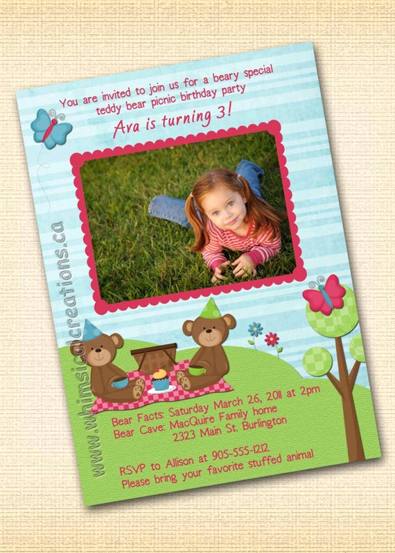 Teddy Bears Picnic Invitation Luxury Teddy Bear Picnic Birthday Invitation by Whimsicalcreationspc