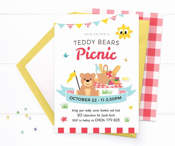 Teddy Bears Picnic Invitation Luxury Teddy Bears Picnic Invitations Printable Picnic Birthday