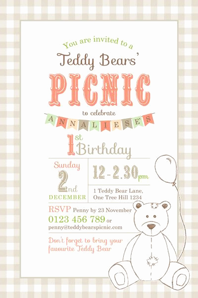 Teddy Bears Picnic Invitation New Printable Custom Birthday Party Invitation Template